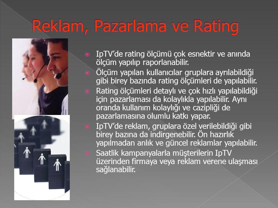  IpTV'de rating ölçümü çok esnektir ve anında ölçüm yapılıp raporlanabilir.
