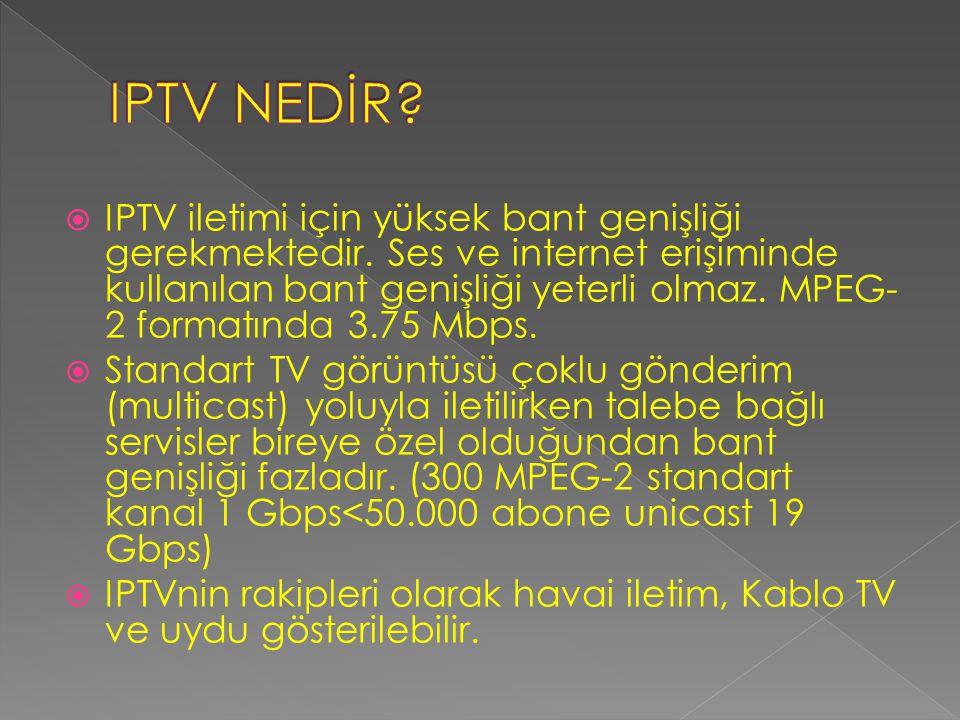  Türk Telekom tüm ADSL altyapısının sahibi. Bugün IPTV için tek adres Türk Telekom.