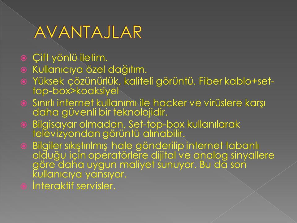  VoIP: İnternet üzerinden ses aktarımı. VoD: Talebe bağlı görüntü izleme.