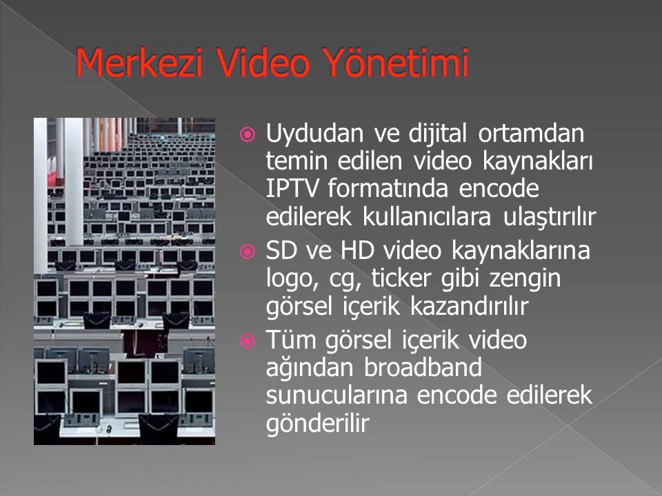  Uydudan ve dijital ortamdan temin edilen video kaynakları IPTV formatında encode edilerek kullanıcılara ulaştırılır  SD ve HD video kaynaklarına logo, cg, ticker gibi zengin görsel içerik kazandırılır  Tüm görsel içerik video ağından broadband sunucularına encode edilerek gönderilir