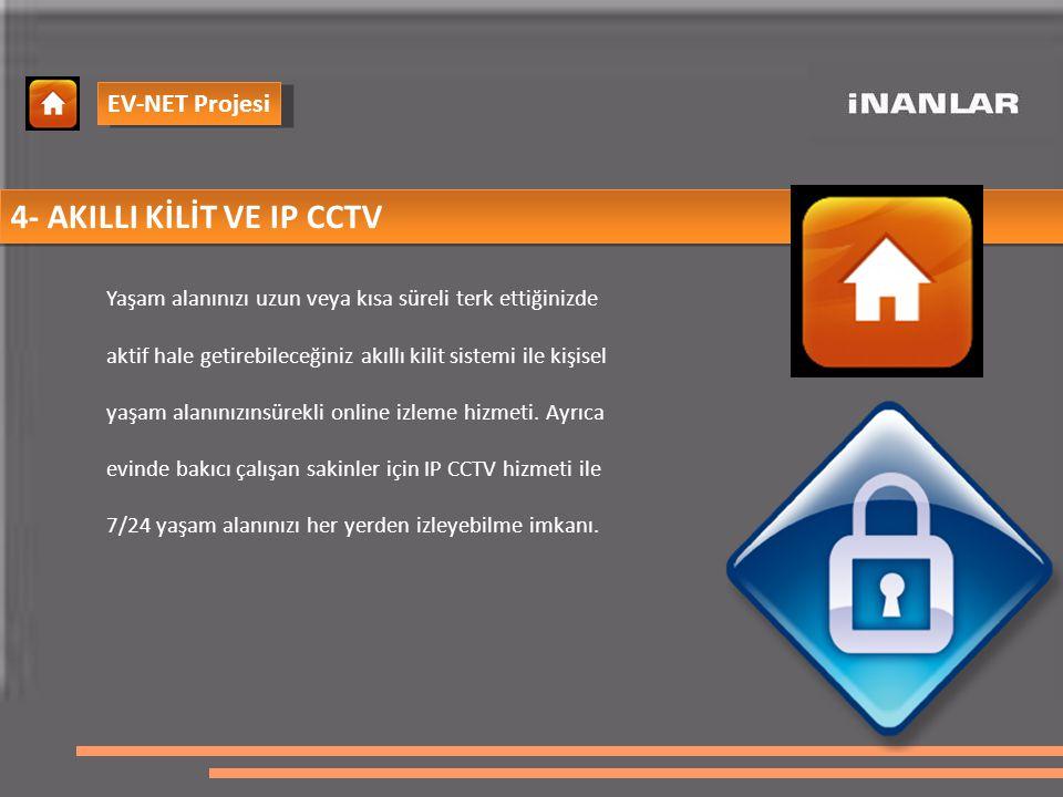 4- AKILLI KİLİT VE IP CCTV Yaşam alanınızı uzun veya kısa süreli terk ettiğinizde aktif hale getirebileceğiniz akıllı kilit sistemi ile kişisel yaşam alanınızınsürekli online izleme hizmeti.