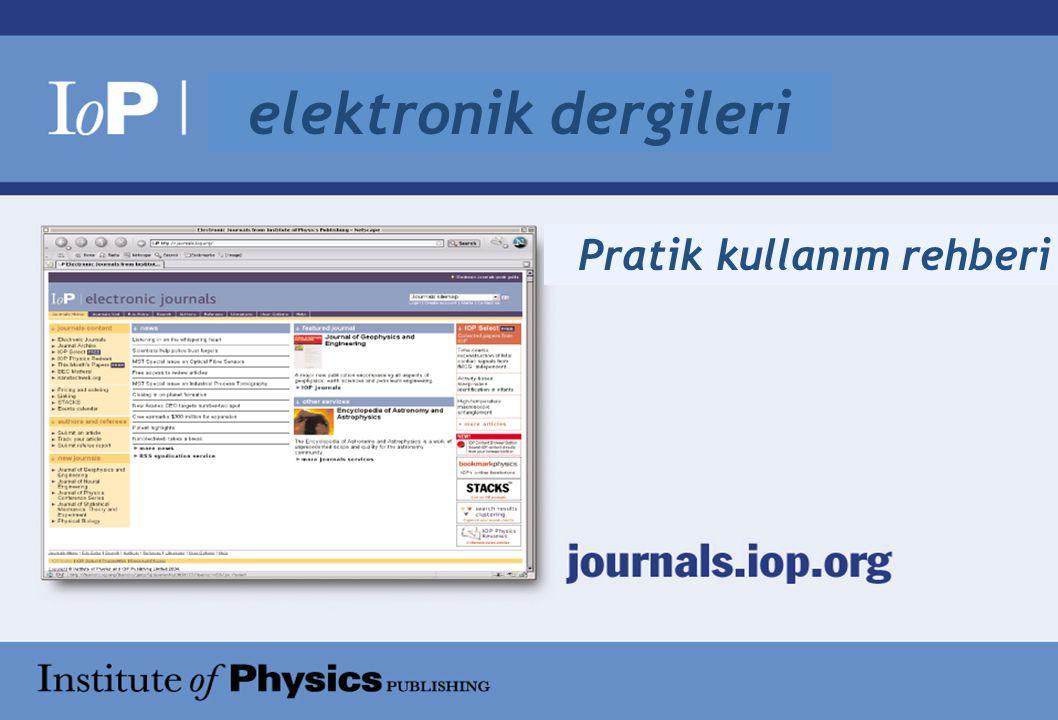 Pratik kullanım rehberi elektronik dergileri