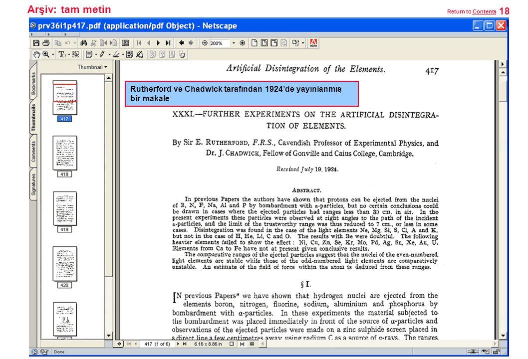 Arşiv: tam metin Rutherford ve Chadwick tarafından 1924'de yayınlanmış bir makale 18 Return to ContentsContents