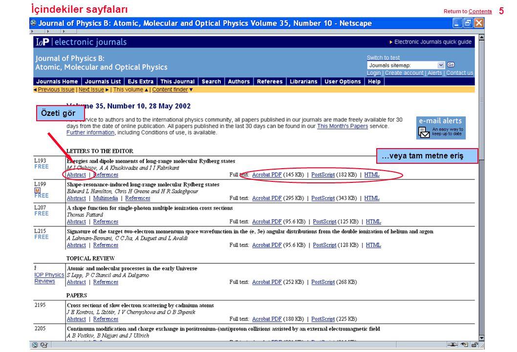 İçindekiler sayfaları Özeti gör …veya tam metne eriş 5 Return to ContentsContents