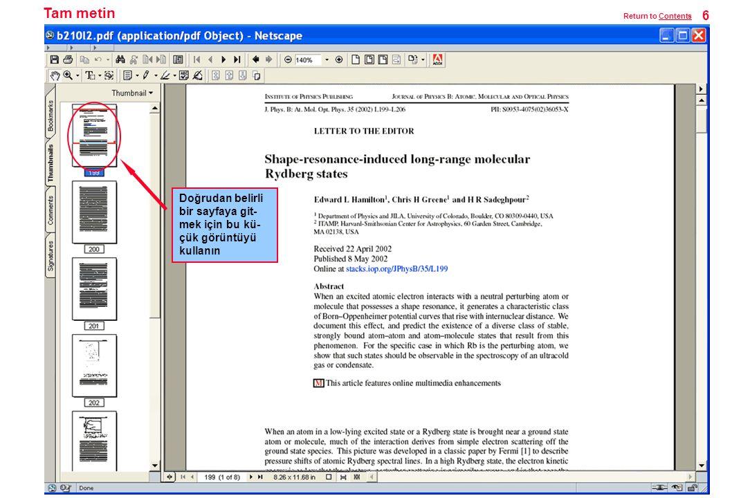Tam metin Doğrudan belirli bir sayfaya git- mek için bu kü- çük görüntüyü kullanın 6 Return to ContentsContents