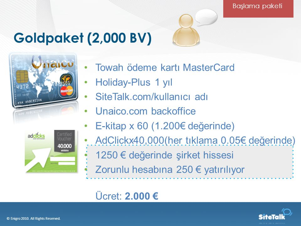 Goldpaket (2,000 BV) © Enigro 2010.All Rights Reserved.
