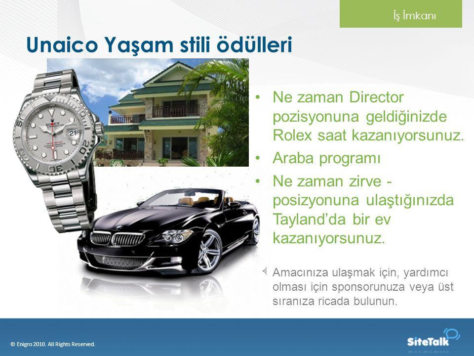 Unaico Yaşam stili ödülleri Ne zaman Director pozisyonuna geldiğinizde Rolex saat kazanıyorsunuz. Araba programı Ne zaman zirve - posizyonuna ulaştığı