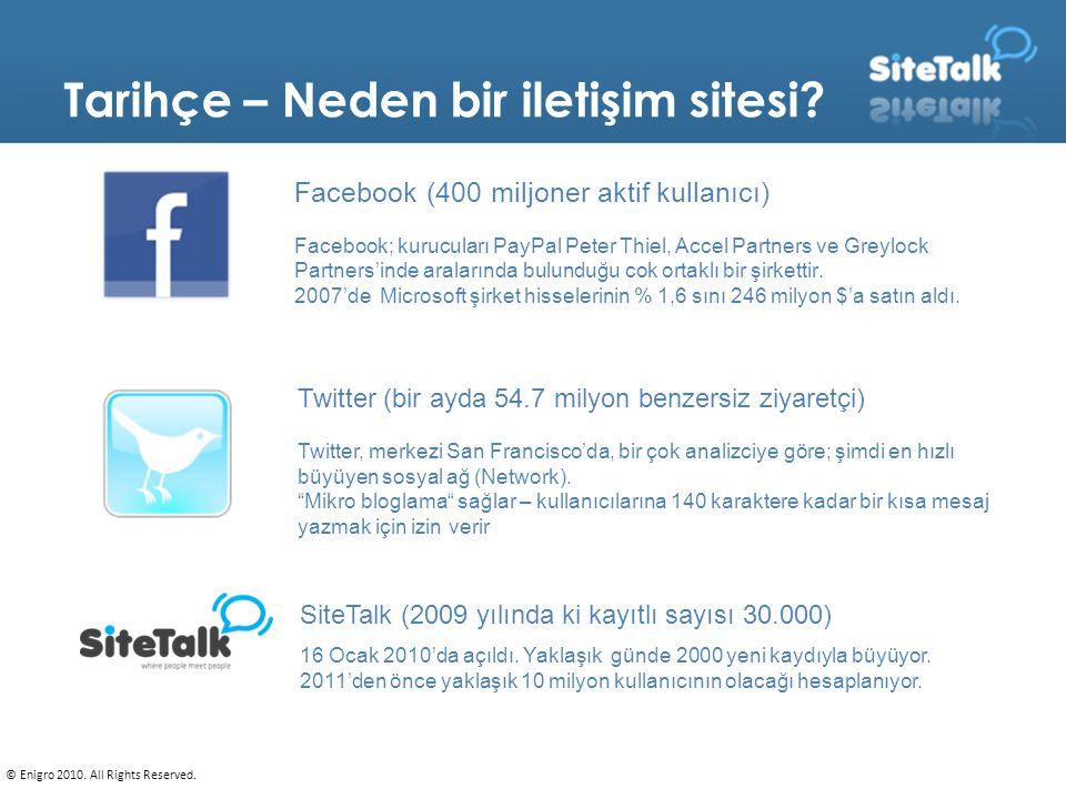 Tarihçe – Neden bir iletişim sitesi? Facebook (400 miljoner aktif kullanıcı) Facebook; kurucuları PayPal Peter Thiel, Accel Partners ve Greylock Partn