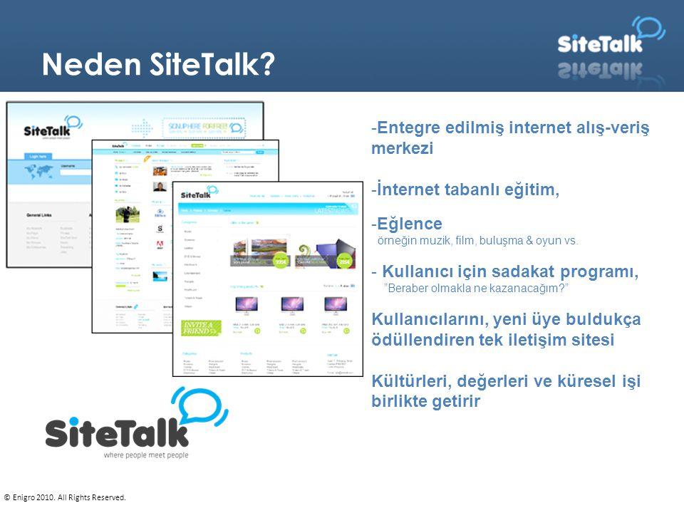 Neden SiteTalk? -Entegre edilmiş internet alış-veriş merkezi -İnternet tabanlı eğitim, -Eğlence örneğin muzik, film, buluşma & oyun vs. - Kullanıcı iç
