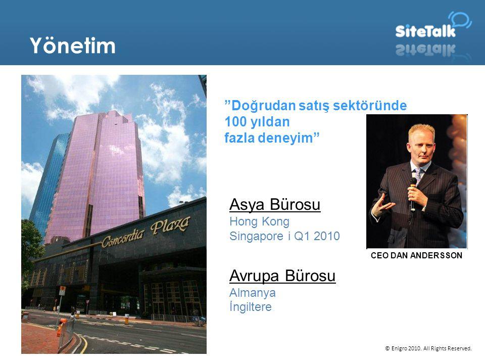 """Yönetim """"Doğrudan satış sektöründe 100 yıldan fazla deneyim"""" © Enigro 2010. All Rights Reserved. Asya Bürosu Hong Kong Singapore i Q1 2010 Avrupa Büro"""