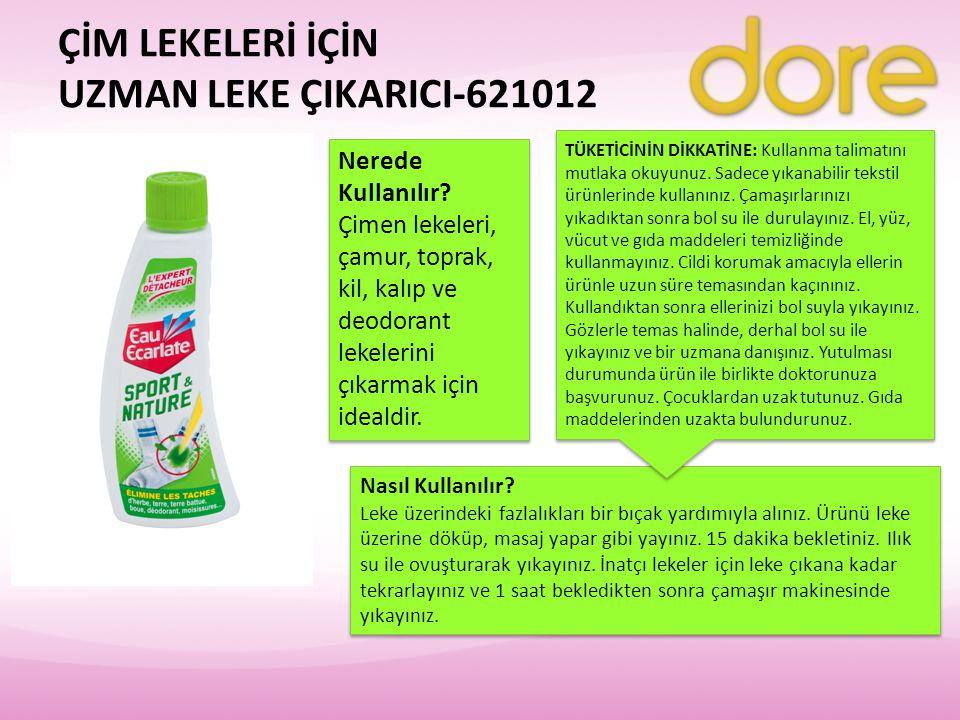 ÇİM LEKELERİ İÇİN UZMAN LEKE ÇIKARICI-621012 Nerede Kullanılır? Çimen lekeleri, çamur, toprak, kil, kalıp ve deodorant lekelerini çıkarmak için ideald