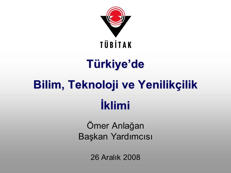Ömer Anlağan Başkan Yardımcısı 26 Aralık 2008 Türkiye'de Bilim, Teknoloji ve Yenilikçilik İklimi