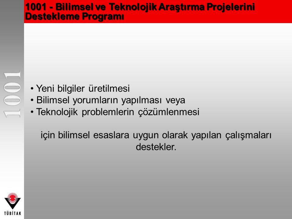 1001 - Bilimsel ve Teknolojik Araştırma Projelerini Destekleme Programı Yeni bilgiler üretilmesi Bilimsel yorumların yapılması veya Teknolojik problem