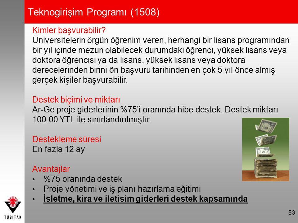 53 Teknogirişim Programı (1508) Kimler başvurabilir? Üniversitelerin örgün öğrenim veren, herhangi bir lisans programından bir yıl içinde mezun olabil