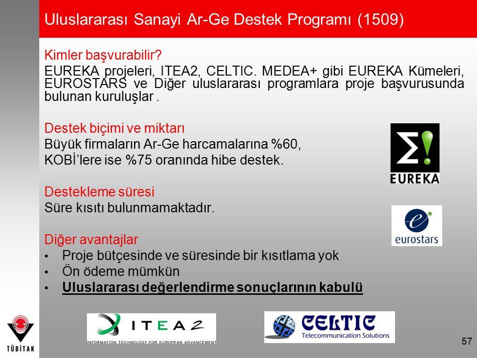 57 Uluslararası Sanayi Ar-Ge Destek Programı (1509) Kimler başvurabilir? EUREKA projeleri, ITEA2, CELTIC. MEDEA+ gibi EUREKA Kümeleri, EUROSTARS ve Di