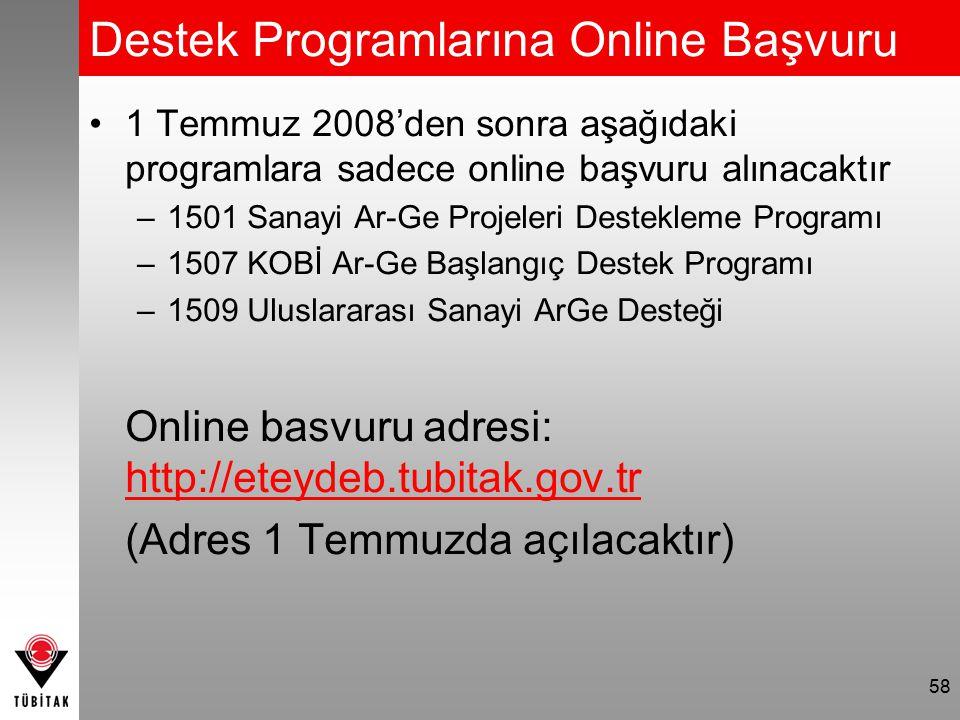 Destek Programlarına Online Başvuru 1 Temmuz 2008'den sonra aşağıdaki programlara sadece online başvuru alınacaktır –1501 Sanayi Ar-Ge Projeleri Destekleme Programı –1507 KOBİ Ar-Ge Başlangıç Destek Programı –1509 Uluslararası Sanayi ArGe Desteği Online basvuru adresi: http://eteydeb.tubitak.gov.tr (Adres 1 Temmuzda açılacaktır) 58