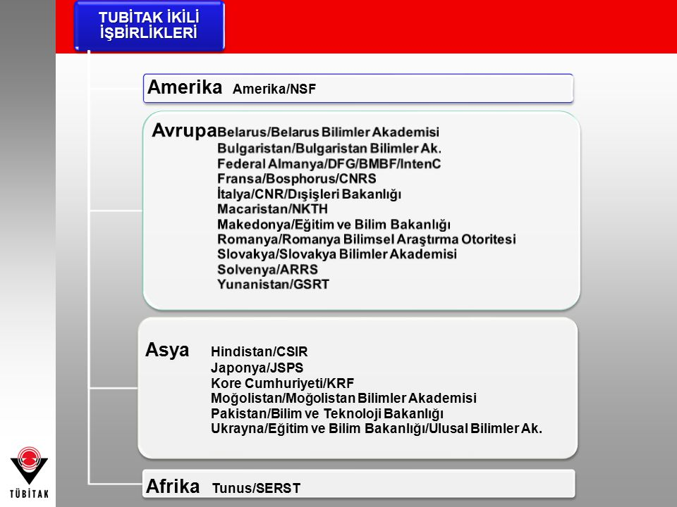 TUBİTAK İKİLİ İŞBİRLİKLERİ Amerika Amerika/NSF Avrupa Belarus/Belarus Bilimler Akademisi Bulgaristan/Bulgaristan Bilimler Ak. Federal Almanya/DFG/BMBF