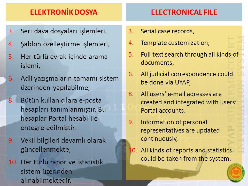 ELEKTRONİK DOSYA 3.Seri dava dosyaları işlemleri, 4.Şablon özelleştirme işlemleri, 5.Her türlü evrak içinde arama işlemi, 6.Adli yazışmaların tamamı sistem üzerinden yapılabilme, 8.Bütün kullanıcılara e-posta hesapları tanımlanmıştır.