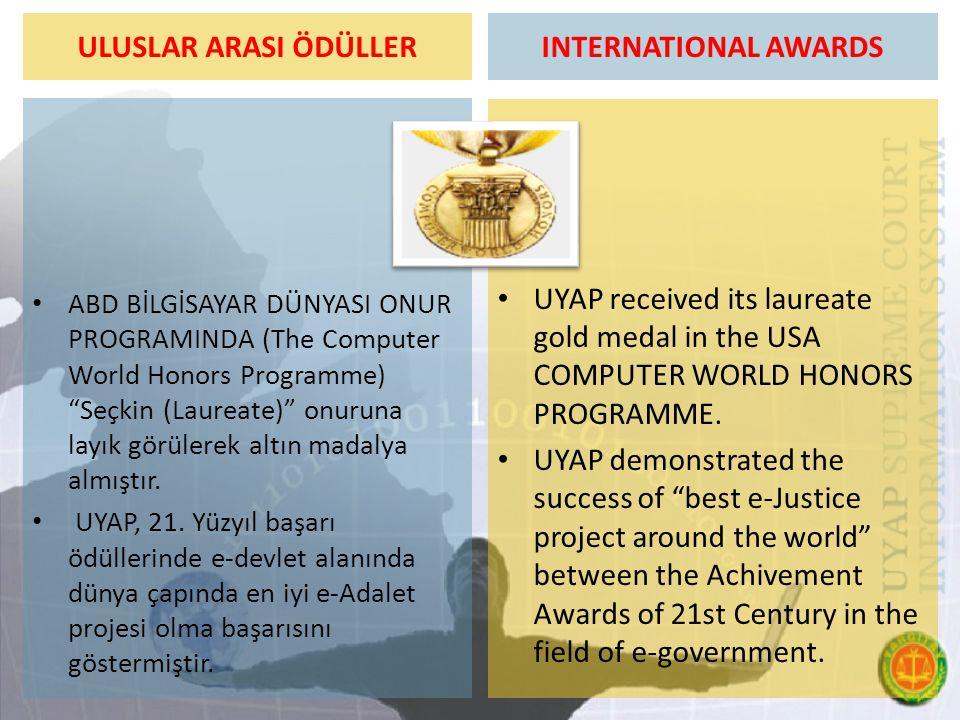 """ULUSLAR ARASI ÖDÜLLER ABD BİLGİSAYAR DÜNYASI ONUR PROGRAMINDA (The Computer World Honors Programme) """"Seçkin (Laureate)"""" onuruna layık görülerek altın"""