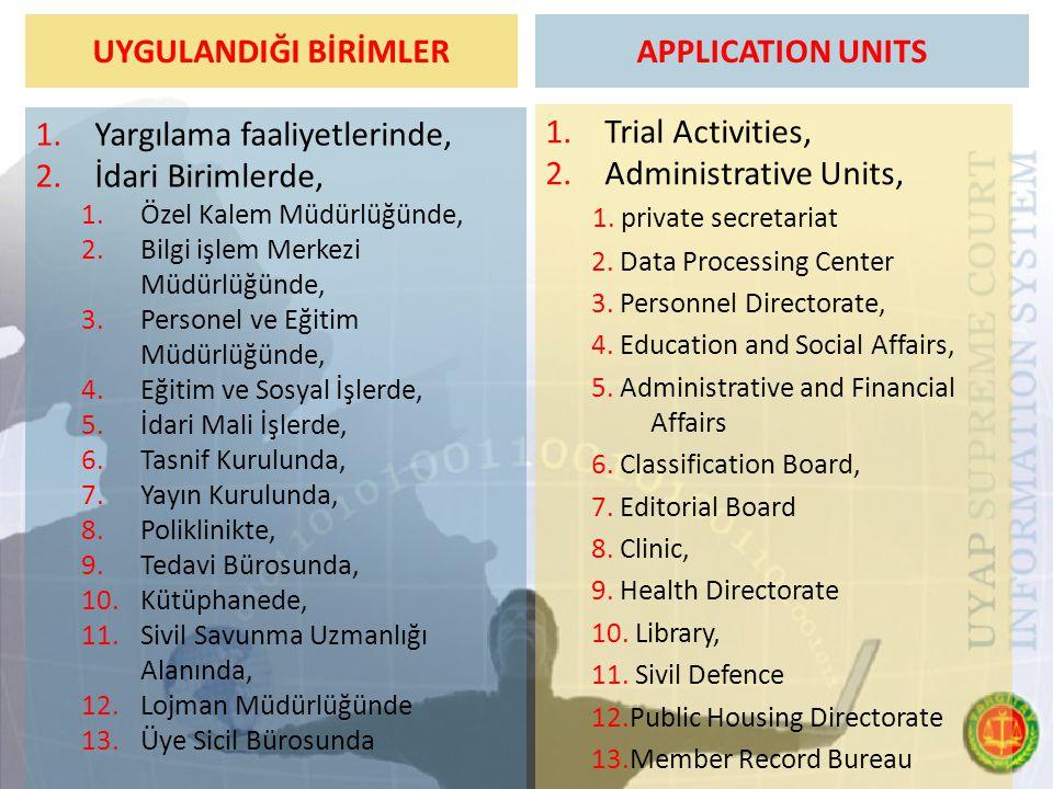 UYGULANDIĞI BİRİMLER 1.Yargılama faaliyetlerinde, 2.İdari Birimlerde, 1.Özel Kalem Müdürlüğünde, 2.Bilgi işlem Merkezi Müdürlüğünde, 3.Personel ve Eği