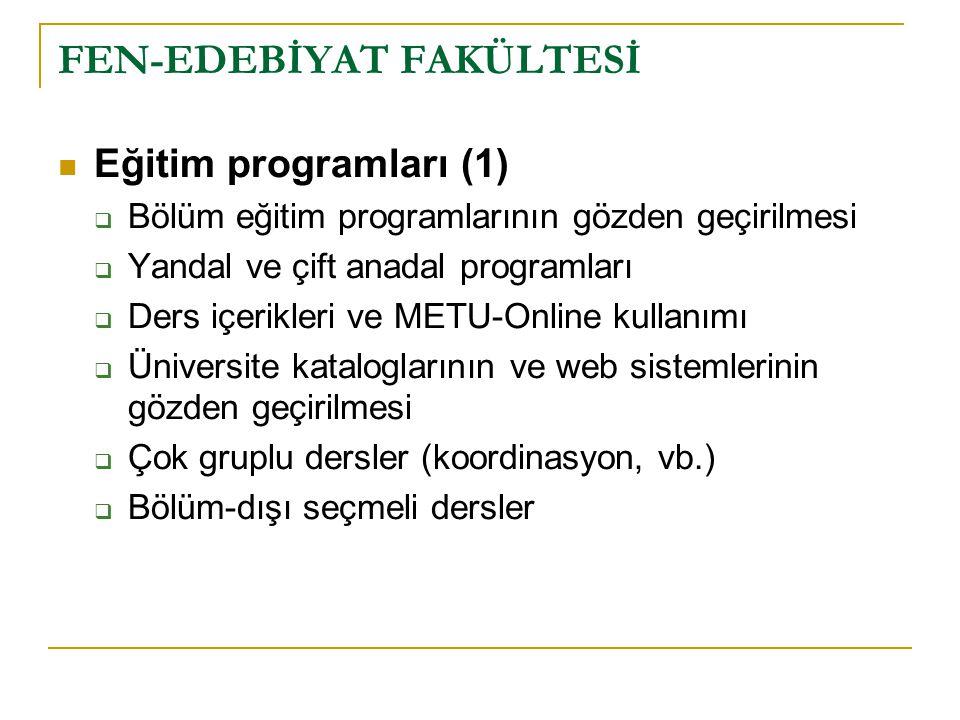 FEN-EDEBİYAT FAKÜLTESİ Eğitim programları (1)  Bölüm eğitim programlarının gözden geçirilmesi  Yandal ve çift anadal programları  Ders içerikleri v