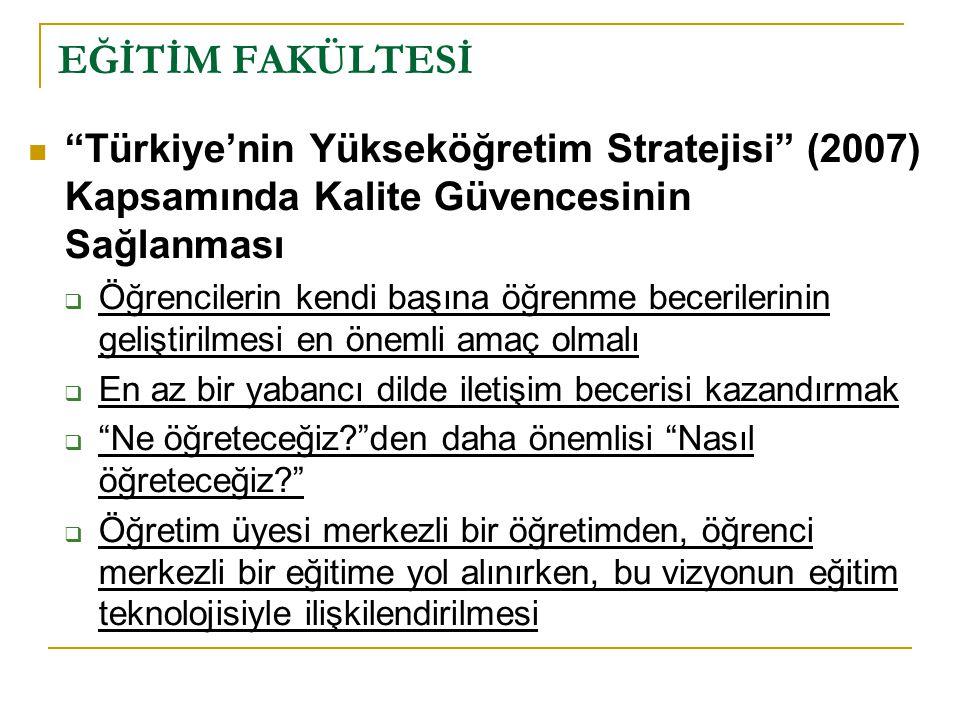 """EĞİTİM FAKÜLTESİ """"Türkiye'nin Yükseköğretim Stratejisi"""" (2007) Kapsamında Kalite Güvencesinin Sağlanması  Öğrencilerin kendi başına öğrenme beceriler"""