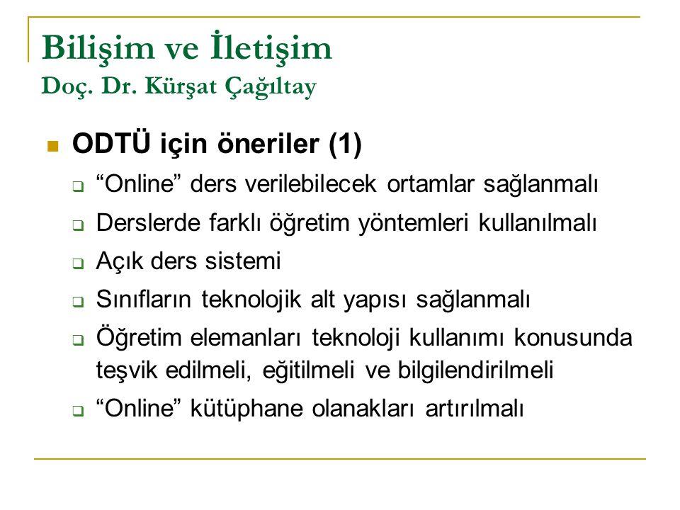"""Bilişim ve İletişim Doç. Dr. Kürşat Çağıltay ODTÜ için öneriler (1)  """"Online"""" ders verilebilecek ortamlar sağlanmalı  Derslerde farklı öğretim yönte"""