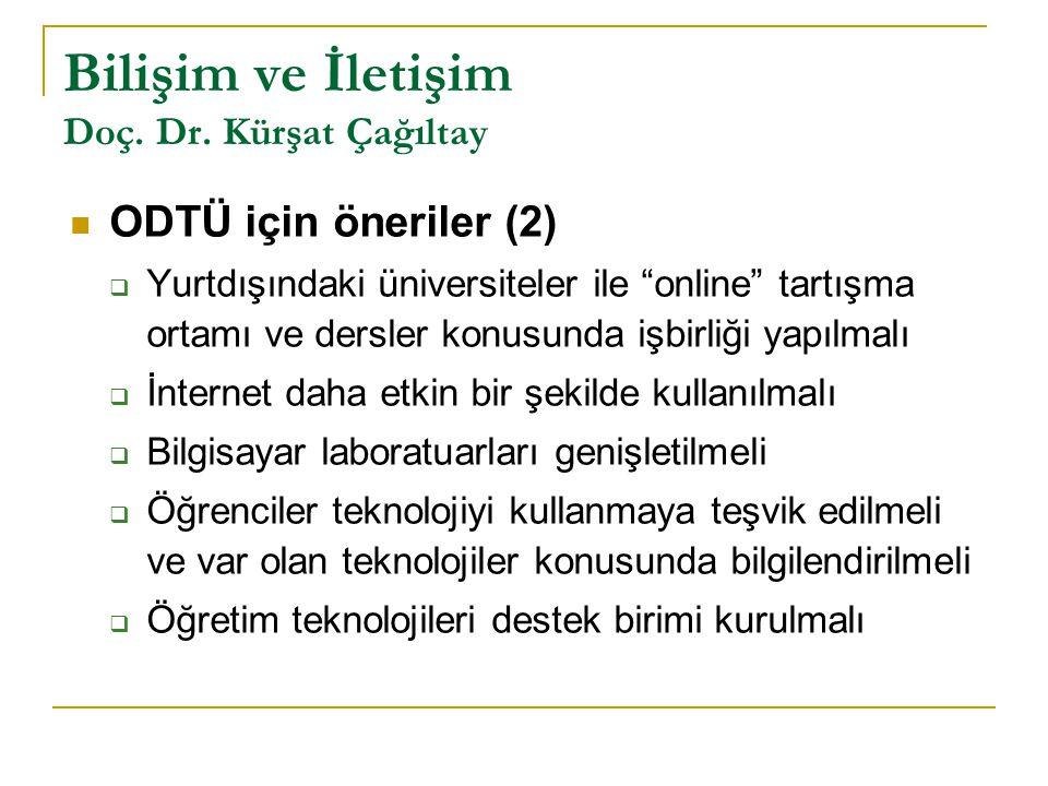 """Bilişim ve İletişim Doç. Dr. Kürşat Çağıltay ODTÜ için öneriler (2)  Yurtdışındaki üniversiteler ile """"online"""" tartışma ortamı ve dersler konusunda iş"""