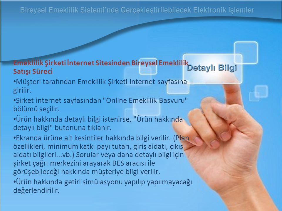 Emeklilik Şirketi İnternet Sitesinden Bireysel Emeklilik Satışı Süreci Müşteri tarafından Emeklilik Şirketi internet sayfasına girilir.