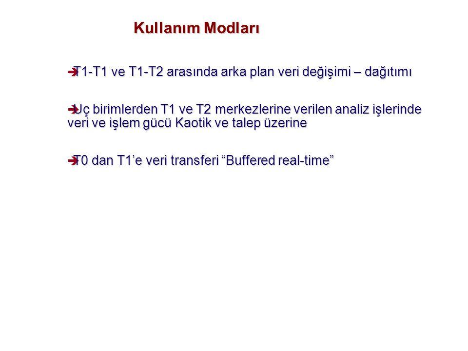 Kullanım Modları è T1-T1 ve T1-T2 arasında arka plan veri değişimi – dağıtımı è Uç birimlerden T1 ve T2 merkezlerine verilen analiz işlerinde veri ve işlem gücü Kaotik ve talep üzerine è T0 dan T1'e veri transferi Buffered real-time