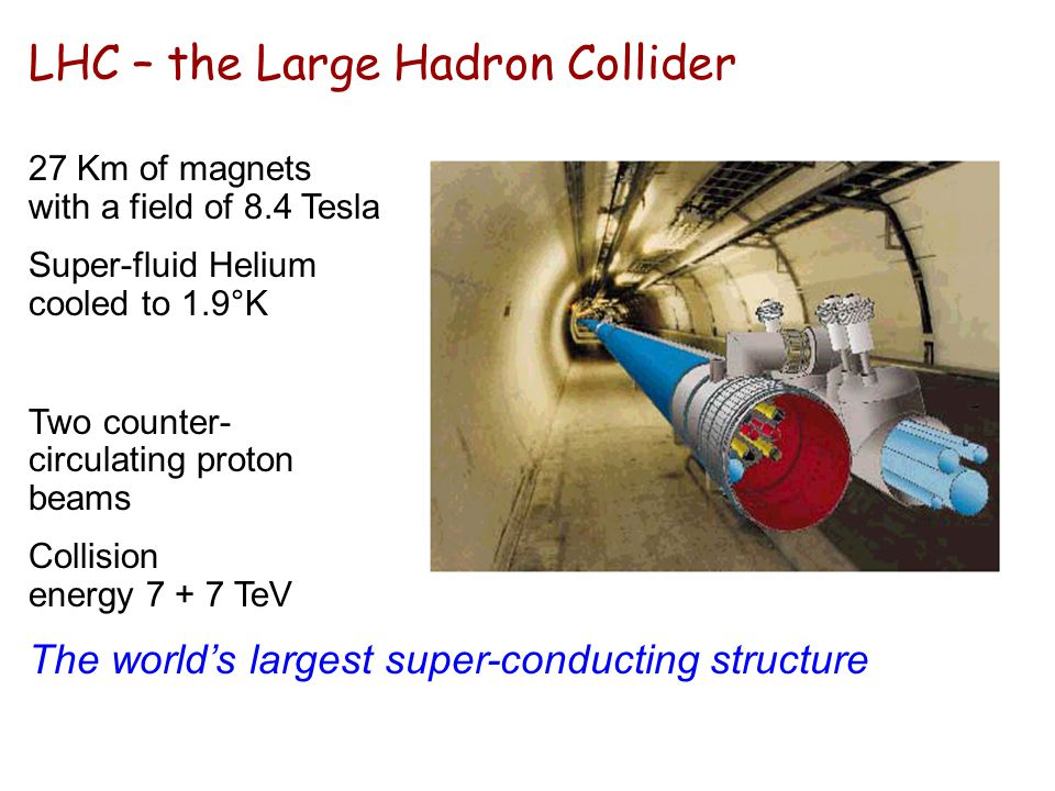 LHC – the Large Hadron Collider 27 Km of magnets with a field of 8.4 Tesla Super-fluid Helium cooled to 1.9°K Two counter- circulating proton beams Co