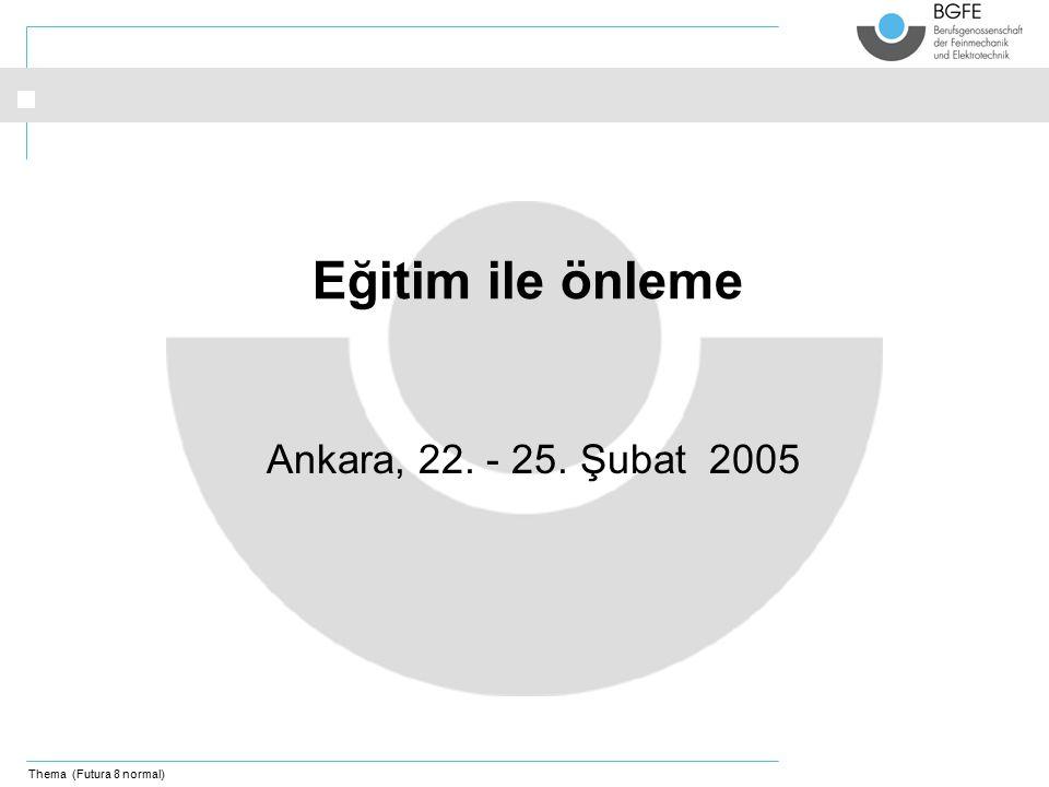 Thema (Futura 8 normal) Ankara, 22. - 25. Şubat 2005 Eğitim ile önleme