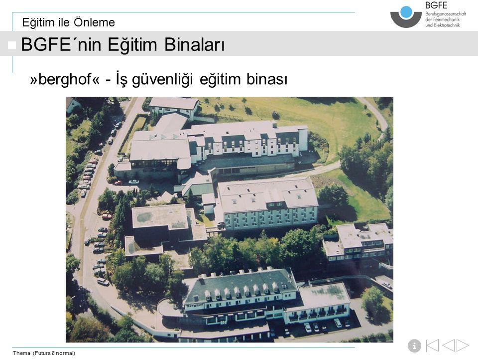 Thema (Futura 8 normal) Eğitim ile Önleme i BGFE´nin Eğitim Binaları »berghof« - İş güvenliği eğitim binası