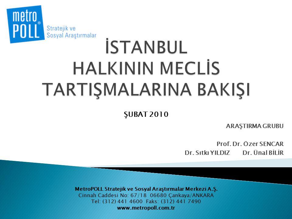  İstanbul halkının Meclis'te AK Parti milletvekilleri ile MHP Milletvekilleri arasında yaşanan olağandışı tartışmayı nasıl algıladığını saptamak amacıyla yapılan araştırmada, İstanbul il sınırları içinde yaşayan vatandaşların yaşam memnuniyeti, Türkiye'nin geleceğine dair algısı ile Meclis'teki tartışmadan hangi partiyi daha çok sorumlu tuttuğu konusundaki düşünceleri araştırma kapsamına alınmıştır.
