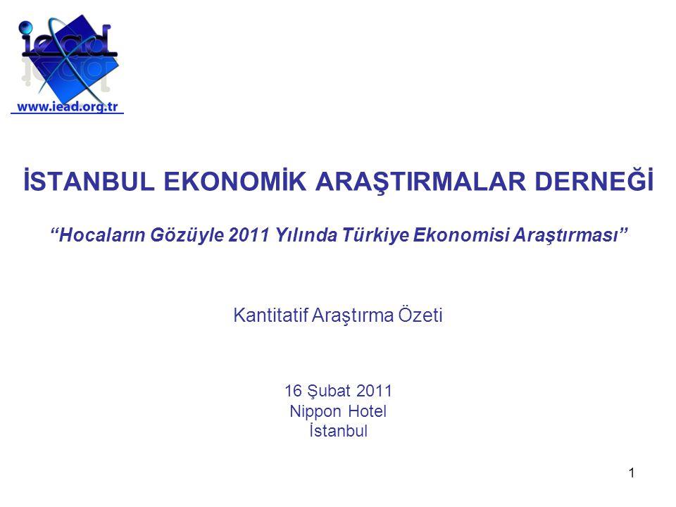 1 İSTANBUL EKONOMİK ARAŞTIRMALAR DERNEĞİ Hocaların Gözüyle 2011 Yılında Türkiye Ekonomisi Araştırması Kantitatif Araştırma Özeti 16 Şubat 2011 Nippon Hotel İstanbul