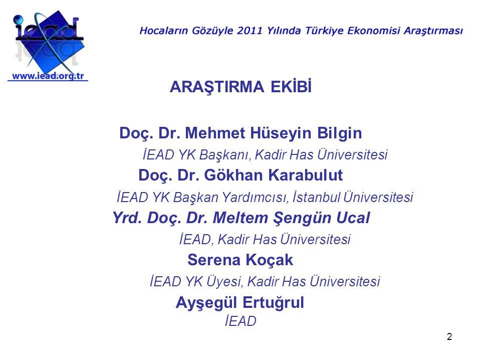 2 ARAŞTIRMA EKİBİ Doç. Dr. Mehmet Hüseyin Bilgin İEAD YK Başkanı, Kadir Has Üniversitesi Doç.