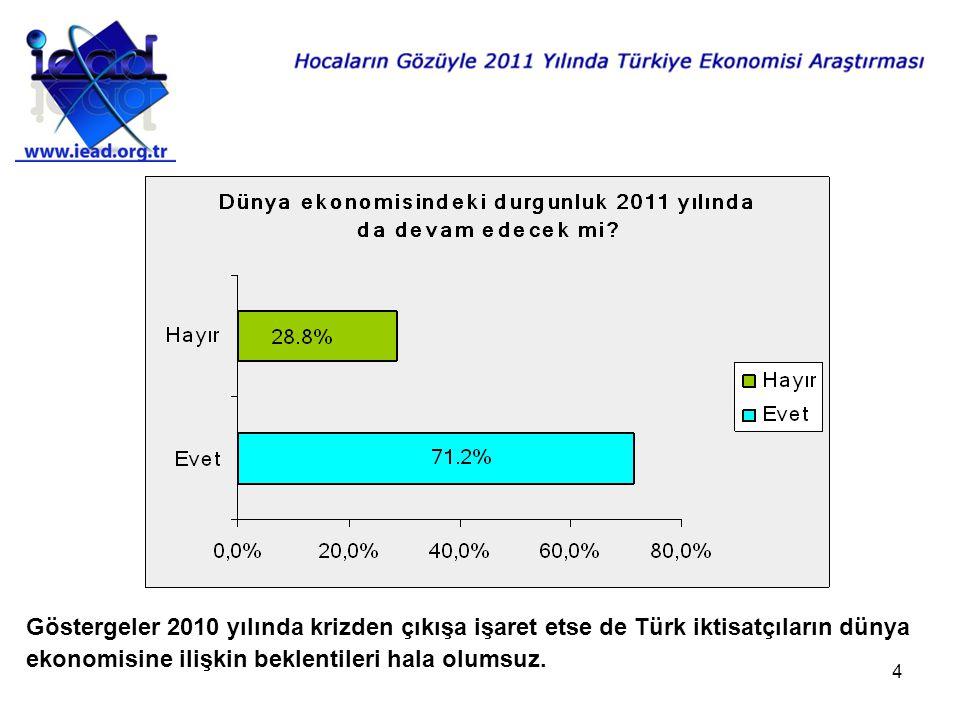 4 Göstergeler 2010 yılında krizden çıkışa işaret etse de Türk iktisatçıların dünya ekonomisine ilişkin beklentileri hala olumsuz.