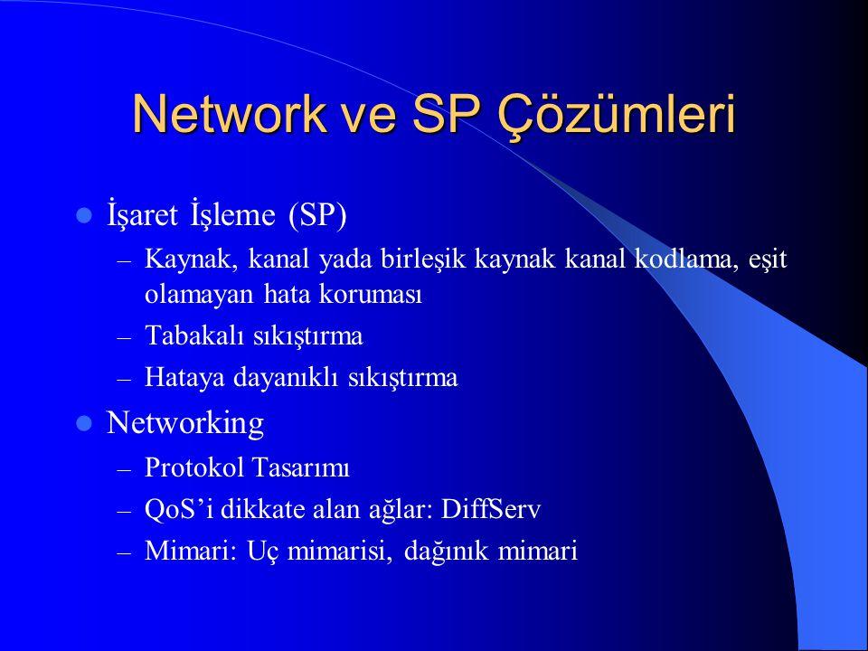 Network ve SP Çözümleri İşaret İşleme (SP) – Kaynak, kanal yada birleşik kaynak kanal kodlama, eşit olamayan hata koruması – Tabakalı sıkıştırma – Hataya dayanıklı sıkıştırma Networking – Protokol Tasarımı – QoS'i dikkate alan ağlar: DiffServ – Mimari: Uç mimarisi, dağınık mimari