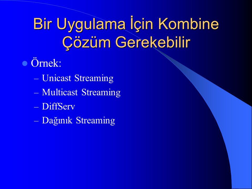 Bir Uygulama İçin Kombine Çözüm Gerekebilir Örnek: – Unicast Streaming – Multicast Streaming – DiffServ – Dağınık Streaming