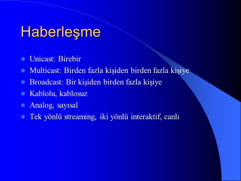 Haberleşme Unicast: Birebir Multicast: Birden fazla kişiden birden fazla kişiye Broadcast: Bir kişiden birden fazla kişiye Kablolu, kablosuz Analog, sayısal Tek yönlü streaming, iki yönlü interaktif, canlı