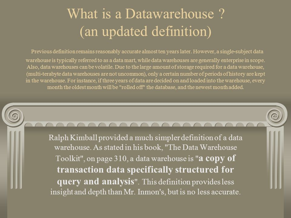 What is a Datawarehouse ? (an updated definition) Previous definition remains reasonably accurate almost ten years later. However, a single-subject da