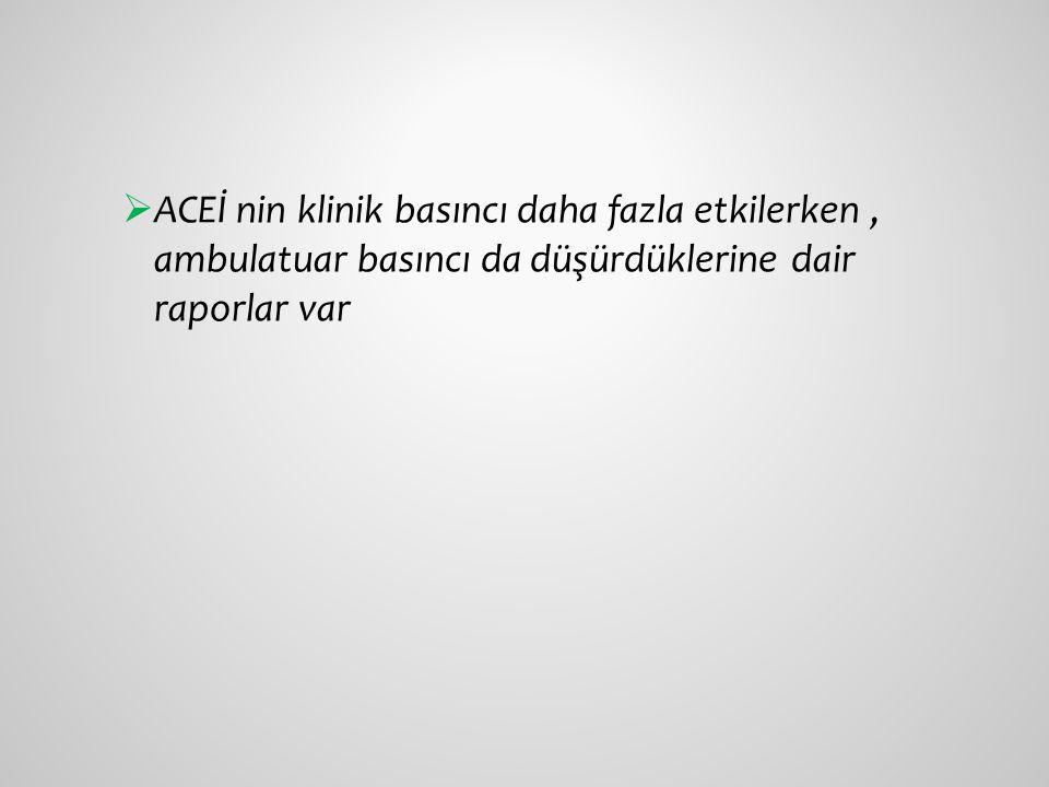  ACEİ nin klinik basıncı daha fazla etkilerken, ambulatuar basıncı da düşürdüklerine dair raporlar var