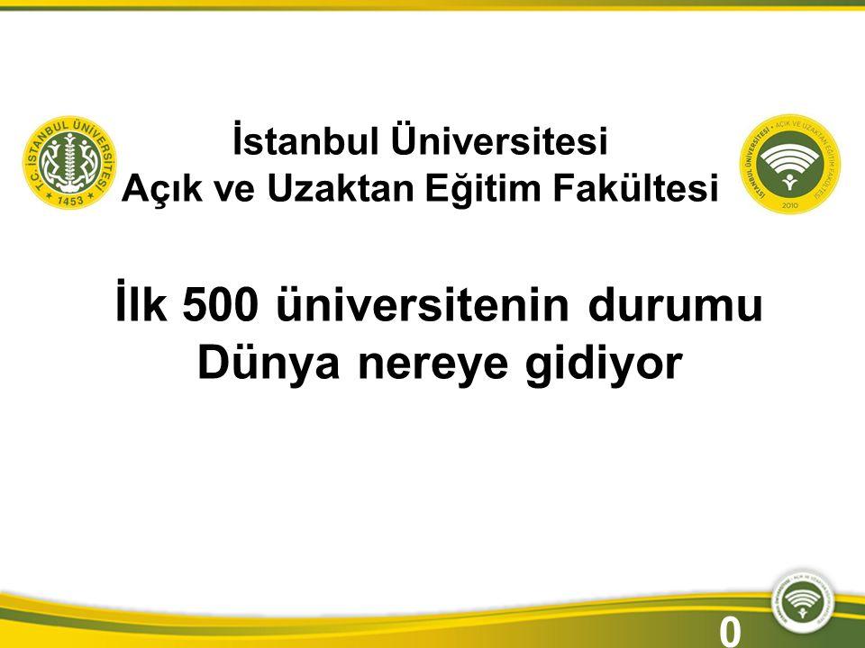 İstanbul Üniversitesi Açık ve Uzaktan Eğitim Fakültesi İlk 500 üniversitenin durumu Dünya nereye gidiyor 0