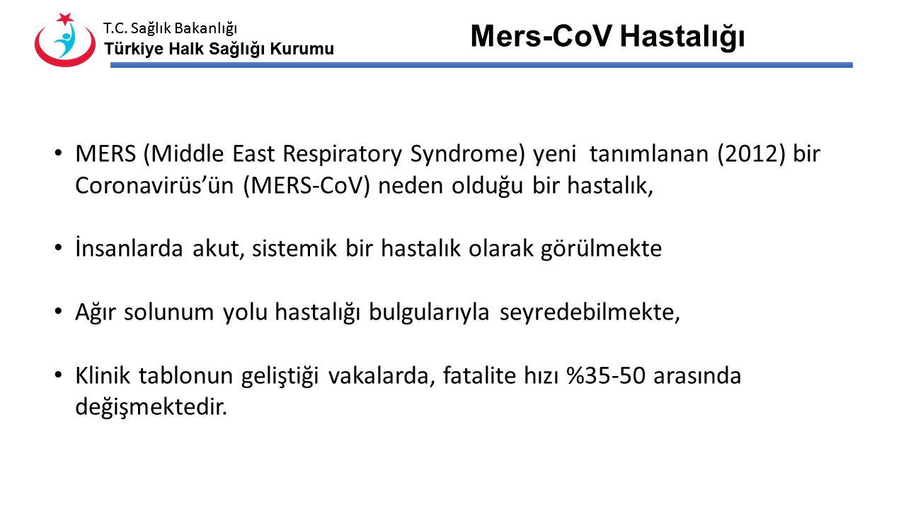 T.C. Sağlık Bakanlığı Türkiye Halk Sağlığı Kurumu T.C. Sağlık Bakanlığı Türkiye Halk Sağlığı Kurumu MERS-CoV HASTALIĞI Ekim 2014, Ankara