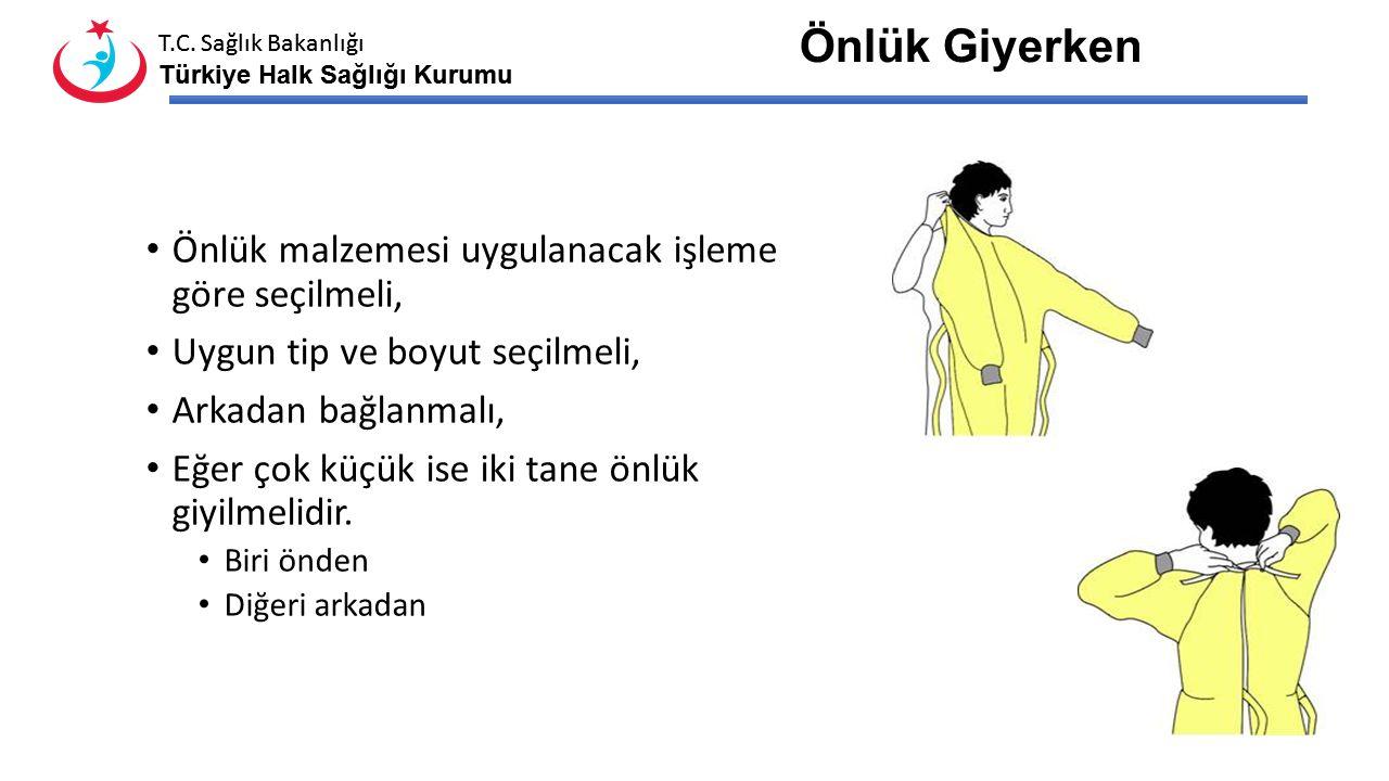 T.C. Sağlık Bakanlığı Türkiye Halk Sağlığı Kurumu T.C. Sağlık Bakanlığı Türkiye Halk Sağlığı Kurumu Giyme sırası Önlük Maske Gözlük-yüz koruyucu Bone