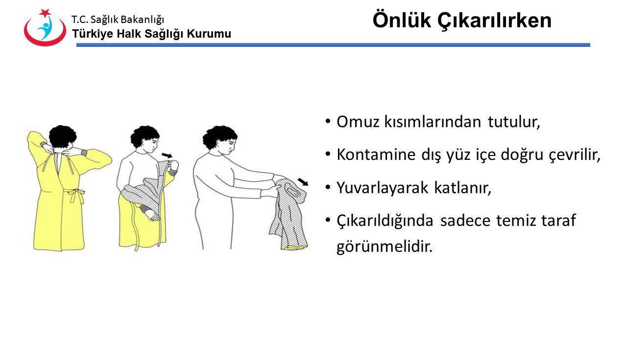 T.C. Sağlık Bakanlığı Türkiye Halk Sağlığı Kurumu T.C. Sağlık Bakanlığı Türkiye Halk Sağlığı Kurumu Eldiven Çıkarılırken Elin üzerinden sıyrılarak içi
