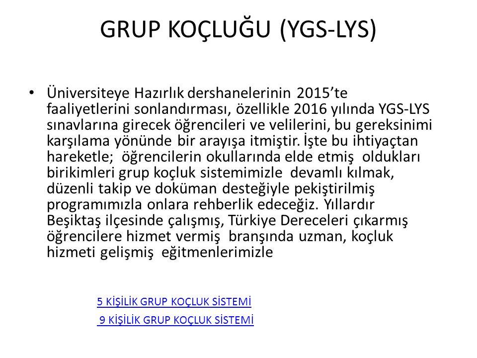 GRUP KOÇLUĞU (YGS-LYS) Üniversiteye Hazırlık dershanelerinin 2015'te faaliyetlerini sonlandırması, özellikle 2016 yılında YGS-LYS sınavlarına girecek
