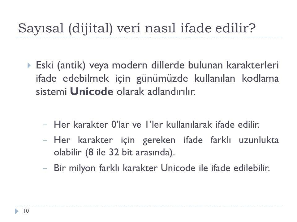 Sayısal (dijital) veri nasıl ifade edilir? 10  Eski (antik) veya modern dillerde bulunan karakterleri ifade edebilmek için günümüzde kullanılan kodla