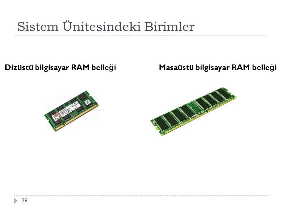 Sistem Ünitesindeki Birimler 28 Dizüstü bilgisayar RAM belle ğ i Masaüstü bilgisayar RAM belle ğ i