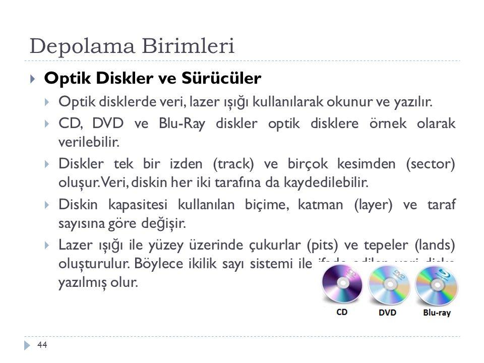 Depolama Birimleri 44  Optik Diskler ve Sürücüler  Optik disklerde veri, lazer ışı ğ ı kullanılarak okunur ve yazılır.  CD, DVD ve Blu-Ray diskler